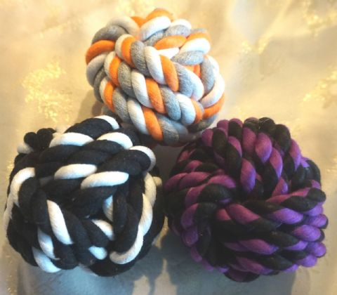 "LARGE DOG ROPE BALLS X 3 TOUGH APPROX 4"" 10CM DOG TOY VARIOUS COLOURS"